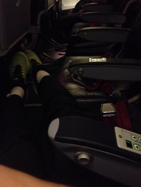 Jeg fløy med Air Berlin å hadde et krav til dem. det var å få 3 seter for meg selv på alle de 3 flyvningene til Norge