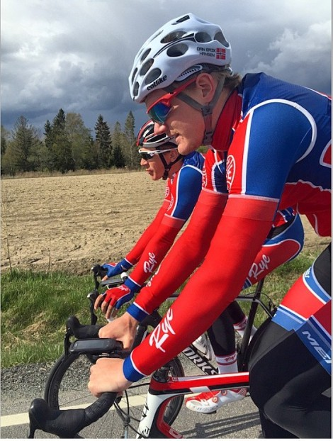 post-race treningstur med Simen etter Spinn Cup i Sandefjord på fredag. Der ble Simen nr 5 mens undertegnede ble nr 7. Foto: Jonas Hjorth