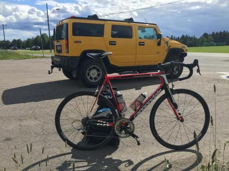 Slik ble jeg transportert opp til Ekeberg i dag, takk til Kjell som stiller opp, stor nok bil til å frakte sykkelen i:)