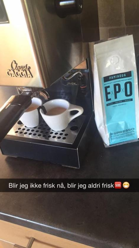 I tillegg til nesten overdose av espresso (kom faktisk ut av tellingen) på lørdagen. Det er utrolig hvor mye kaffe man drikker når man ikke får trent...