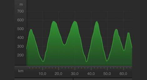 Mens lagkameratene mine gjorde seg klar til NM fellesstarten snek jeg meg ut litt før kl 7 på morningen å testet ut noen bakker rundt Lillehammer, det resulterte i en slik høydeprofil.