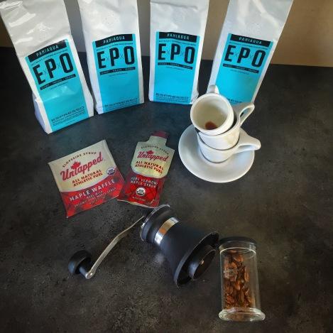 Jeg har også fått ny forsyning med kaffe, både ferdig malt Espresso pulver og hele bønner av typen EPO. Anbefales!!! En shot espresso av denne før tur samt en UnTapped underveis er du garantert gode Strava tider.