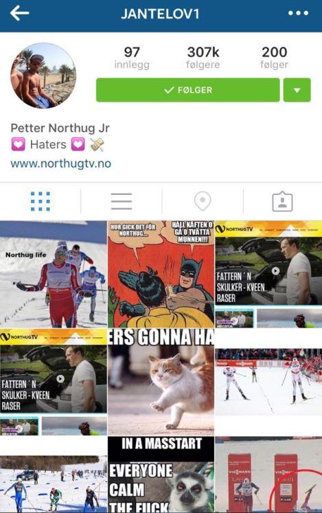 Han trenger vel ingen intro eller beskrivelse, han leverer på Instagram som i skisporet: Jantelov1