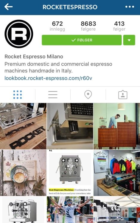Kaffe er digg, det er også en stor del av sykkelsport kulturen, Rocket Espresso legger ut mye nerdete om kaffe men også fristende fancy bilder, følg dem: