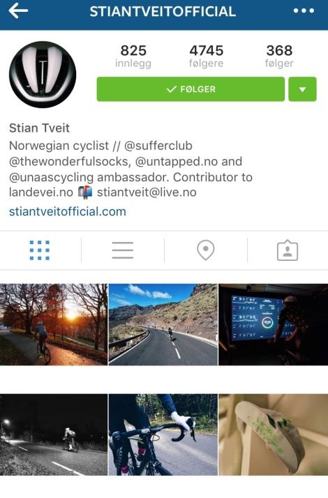 Som syklist liker jeg bilde av folk som sykler, Stian er flink til å legge ut dette! Siden det er så mange millioner i Norge som heter Stian Tveit har han sett seg nøtt til å putte på Official slik at det ikke skal være tvil bland hans Tveitbelievers: Følg: StianTveitOfficial